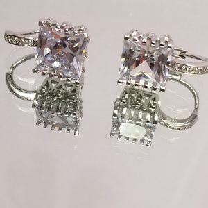 Jewelry - Square simulated diamond earrings